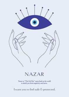 """Nazar """"The Evil Eye"""" - Evil eye Tattoo Evil Eye Quotes, Ojo Tattoo, Evil Eye Art, Eye Meaning, Eye Illustration, Eye Symbol, Symbols And Meanings, Spiritual Symbols, Thinking Day"""