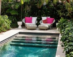 Lush Garden with In Ground Pool, Transitional, Pool - Garten Pool ideen Small Backyard Pools, Small Pools, Backyard Landscaping, Tropical Landscaping, Pool Decks, Outdoor Spaces, Outdoor Living, Outdoor Decor, Outdoor Pool Furniture