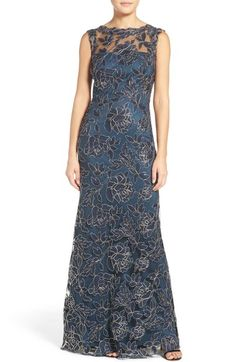 """Tadashi Shoji """"Akashi"""" Embroidered Mesh Gown available at #Nordstrom and Lord & Taylor"""