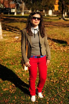 fall: red pants and brown blazer with white sneakers