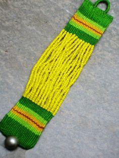 Yellow Beaded Handmade Needle Weaving Bracelet Custom by paiweaver, $22.00