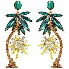 Elizabeth Cole 'Pamela' Swarovski crystal palm tree drop earrings (500 CAD) ❤ liked on Polyvore featuring jewelry, earrings, palm jewelry, elizabeth cole jewelry, elizabeth cole earrings, swarovski crystal drop earrings and palm tree earrings