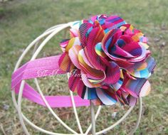 Hot Pink Rainbow Satin and Tulle Flower by TheFairyFactoryShop, $7.75