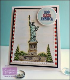 Crafter's Companion. Project by Giovana Smith. Stamp set used: Statue of Liberty. Spectrum Noir markers used: tatue of Liberty: TB1, TB2, TB3, TB4, GT1, GB5 Bricks: EB1, EB2, TN2, BG3 Trees: CG1, DG2, CG4 Dots: LY2 Spectrum Nor Pencils: 016 (Outline) Sentiment was colored with: CR6, TB4 @crafterscomp #spectrumnoir