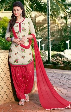 Alluring Pink and Cream Patiala Salwar Suit