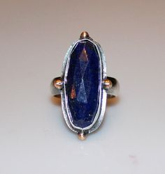 midnight blue lapis lazuli ring by MyFascinationStreet on Etsy