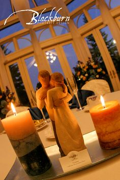 Enjoy the view from our conservatory windows at dusk. Romantic candlelight is a perfect accent. Birch Hill Events #NY #Wedding #Albany