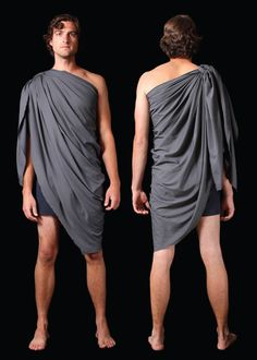 How to - male tunic (good for the over garment) Toga Party Costume, Costume Dress, Toga Fancy Dress, Dress Up, Greek God Costume, Greek Costumes, Anything But Clothes Party, Greek Toga, Roman Toga