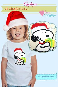 Christmas Applique Snoopy. Snoopy with gift, Christmas Applique. Snoopy and Peanuts. Snoopy Party Ideas. Disney Applique. www.lovesapplique.com