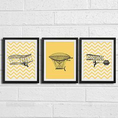 "Boys Vintage Airplane Art Prints - Kids, Baby, Nursery Wall Deco - Set of 3 8""x10"" Print on Etsy, $30.00"