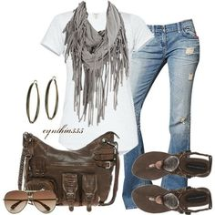 fall White T Ripped jeans Flats Scarlf