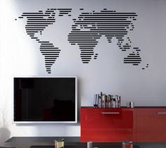 World Map  Lines World Map decal by decalSticker on Etsy, $139.00