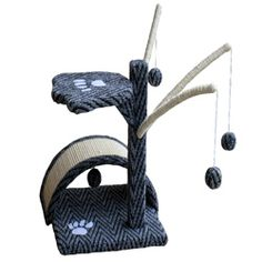@Overstock - Give your kitties a new playplace with this durable GoPetClub cat tree featuring fun dangling balls and a durable scratching board. This cat tree is constructed of sturdy pressed wood covered in carpet with a cute paw print motif on it.http://www.overstock.com/Pet-Supplies/GoPetClub-Cat-Tree/5119049/product.html?CID=214117 $28.37