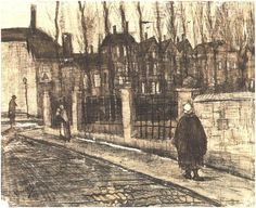 Vincent van Gogh Drawing, Pen and Ink and Pencil on Paper The Hague: March - early in month, 1882 Kröller-Müller Museum Otterlo, The Netherlands, Europe F: 918, JH: 111 Image Only - Van Gogh: Old Street (The Paddemoes)