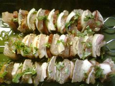 Rybí špíz / Fish skewer Skewers, Fish And Seafood, Sushi, Ethnic Recipes, Sushi Rolls