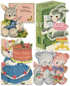 Birthday Girl No. 7 (of 8) Vintage Greeting Cards - Digital Collage Sheets E-mailed directly to you. No Shipping... Just Save and Print. via Etsy