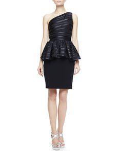 One-Shoulder Peplum Dress by Halston Heritage at Neiman Marcus.