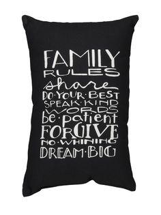 Family Rules Accent Pillow