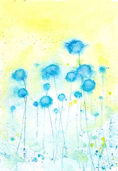 Turquoise Yellow  Winter Flower  Art  Watercolor by mallalu, $57.00