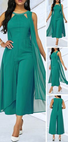 Hot Sale & Green Cutout Neckline Chiffon Overlay Jumpsuit is part of eye-makeup - eye-makeup Chiffon, Overall, Jumpsuits For Women, African Fashion, Dress To Impress, Plus Size Fashion, Beautiful Dresses, Fashion Dresses, Fashion Bags