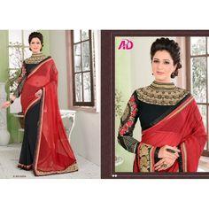 Designer Red & Black Thread Embroidered Viving Georgette & Georgette Saree - 5004 ( SS-Abhishek-5001 )