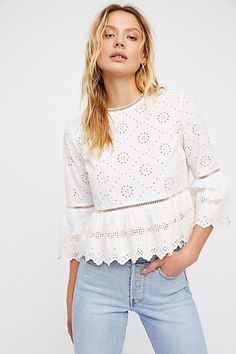 27 Broderie Anglaise Pieces To Buy Now | sheerluxe.com Boho Fashion Over 40, High Fashion, Womens Fashion, Fashion Brands, Winter Fashion, Girls Fashion Clothes, Clothes For Women, Fancy Tops, Basic Tops