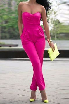 838e865df070d3 Sexy Strapless Sleeveless Solid Color Pocket Design Women's Jumpsuit  Strapless Jumpsuit, Pink Jumpsuit, Playsuit