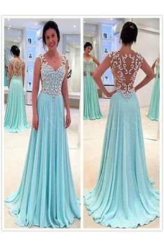 Shop discount Blue A-line Straps Long Chiffon Appliques Sheer Illusion Back Prom…