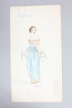 """Kittyinva: 1917 Lucile Studio sketch of an evening dress titled """"The Smile of a Friend"""" - yellow print dress with blue overskirt and pink edged flounces. From Kerry Taylor Acutions."""