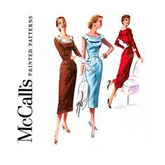 1950s Sheath Dress Pattern Bust 32 UNCUT McCalls 3461 Princess Seam, Sleeveless, Wide Contrast Collar Womens Vintage Sewing Pattern