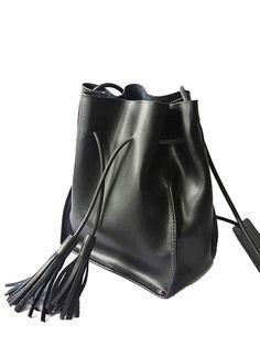 #AdoreWe #StyleWe Bags - Abbott Vintage Black Casual Solid Cowhide Leather Drawstring Bucket Crossbody - AdoreWe.net
