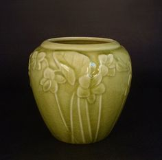 Sale ROOKWOOD Pottery Vase Art Nouveau Flowers Leaves Chartreuse Green 6432 SIGNED Date 1945 #LaborDaySale