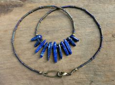 Tribal Lapis Lazuli  Necklace Boho necklace by ArtifactsEtCetera