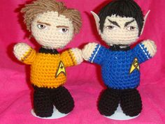 Captain Kirk, Spock Star Trek AmigurumiI Crochet doll, Handmade,Unique, a Must Have