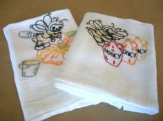 Busy Bee Hand Embroidered Dish Towels