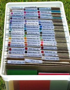 I want to do this...great way to keep my cardstock - easy to look through and dust free when not in use! Scrapbook Storage, Scrapbook Organization, Craft Organization, Scrapbook Rooms, Organize Scrapbook Paper, Paper Storage 12x12, Organizing Papers, Organizing Crafts, Organizing Life