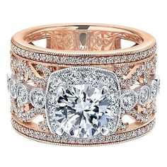 LOOK at this GORGEOUS RING...OH MY! 18K Rose and White Gold Stacked Multi-Band Vintage Diamond Engagement Ring