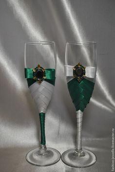 """Купить Свадебные бокалы """"Изумруд"""" - болотный, изумрудная свадьба, зеленая свадьба, бокалы для свадьбы"""