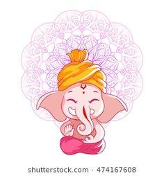 Little cartoon Ganesha. Vector cartoon illustration on a white background with mandala. Arte Ganesha, Pintura Ganesha, Arte Shiva, Ganesha Sketch, Ganesha Drawing, Ganesha Tattoo, Lord Ganesha Paintings, Shiva Art, Krishna Painting