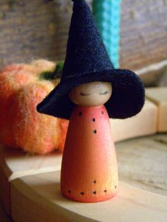 Witch Halloween Doll Holiday Ring Decor Orange by MamaWestWind