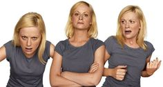 """AMY POEHLER Left: You are sneaking a peek, in the middle of the night, at your sweet new boyfriend's computer … and discovering e-mails to and from his three current """"other"""" girlfriends. Center: You are a Park Avenue matron, paying your husband a surprise visit at his office and discovering him on the couch in flagrante delicto with his secretary. Right: You are a disoriented homeless woman being arrested for loitering."""