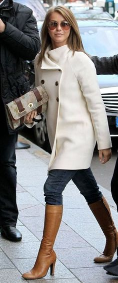 White peacoat with skinny jeans, camel boots - Julianne Hough