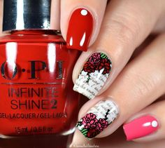 WEBSTA @ shannasnailadventures - Hello all! Happy Monday. I am finally on the road to recover and so did some actual nail art last night. I used my @opi_products Infinite Shine polishes I received from @preendotme to review. I will show you individual swatches soon.  Hope you like this mani! ❤️❤️ #preenmevip #preendotme #prsample For this look I used the following:@opi_products Infinite Shine in 'Big Apple Red', 'Strawberry Margarita' 'Funny Bunny' and 'Black Onyx' @uberchicbeauty…