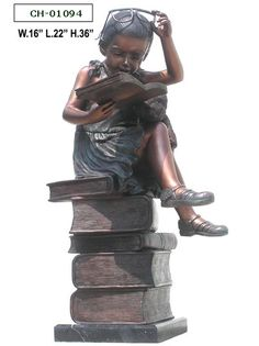 """""""Bronze Girl Sitting On Stack Of Books"""" by Bronze West Imports, Inc."""