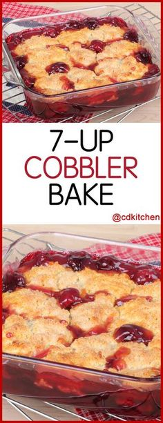 Cobbler Bake A delicious dessert with only three ingredients Cherry pie filling is topped with dry yellow cake mix and soda is poured over the top then baked until done CDKitchen com is p - Beaux Desserts, Cake Mix Desserts, Cherry Desserts, Köstliche Desserts, Dessert Recipes, Cherry Pie Filling Desserts, Cherry Pie Recipes, Cherry Pie Fillings, Desserts With Cherries