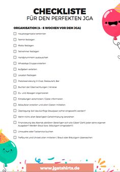 JGA Junggesellinnenabschied & Junggesellenabschied Checkliste - Celebration cakes for women, Party organization ideas, Party plannig business Wedding Planning Binder, Event Planning Business, Party Planning, Bachelorette Party Checklist, Bachelorette Parties, Party List, Team Bride, Diy Invitations, Maid Of Honor