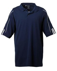 adidas Golf - Men's ClimaLite 3-Stripes Cuff Polo >> 3XL,COLLEGIATE NAVY/WHIT by adidas. $26.99. 100% polyester; essential moisture management pique wicks moisture away from the skin for quick evaporation, keeping you dry and comfortable; self-fabric collar; open-hem sleeves and hem bottom; side vents; contrast 3-Stripes detail on sleeves; three-button placket; Silver adidas heat-seal logo on back neck.