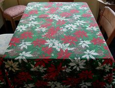 Vintage Christmas Tablecloth Poinsettias and Pinecones Red Green White Brown. $24.95, via Etsy.