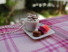 Cappuccino with Macarons - Necklace - Sterling Silver Ball Chain - Miniature Food.