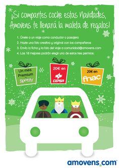 Si compartes coche estas Navidades, Amovens te llenará la maleta de regalos. #Carpooling #Amovens #CompartirCoche #Navidad #ReyesMagos